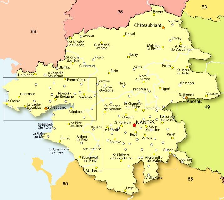 Carte Loire Atlantique Vendee.44 Loire Atlantique Semaine52 Com